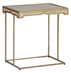 Carson Hollywood Regency Deco Faux Shagreen Horn Side Table