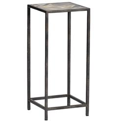 Arthur Rustic Horn Inlay Tall Side End Table