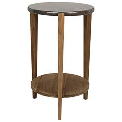 Noir Kavica Mid Century Modern Black Stone Top Brown Teak Wood Round Side End Table