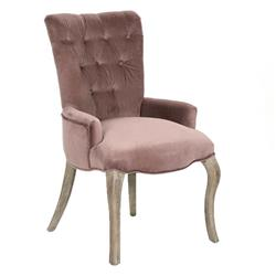Iris French Country Tufted Mink Velvet Dining Arm Chair