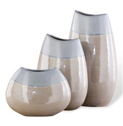 Lucia Light Blue Linen Sand Vase Trio- Set of three