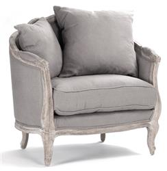 Rue du Bac French Country Grey Linen Feather Chair