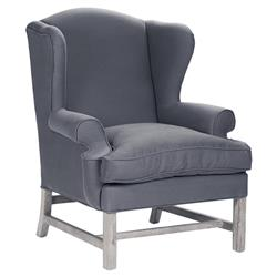 Dark Gray Cotton Limed Oak English Club Chair