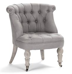 Amelie French Country Grey Linen Tufted Accent Chair