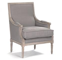 St. Germain French Country Limed Oak Louis XVI Grey Linen Accent Club Chair