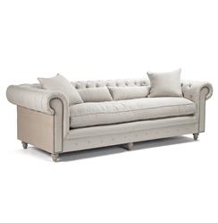 Alaine French Country Burlap Linen Chesterfield Nailhead Sofa