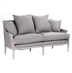 St. Germain French Country Limed Oak Louis XVI Grey Linen Sofa