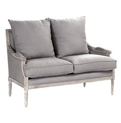 Lester French Country Limed Oak Louis XVI Grey Linen Settee