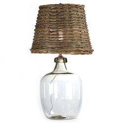 Panier French Cottage Large Glass Rustic Basket Shade Table Lamp - L | LPV003-XLW-Clear