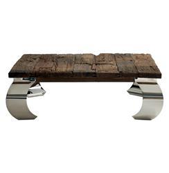 Sid Modern  Rustic Lodge Wood Silver Base Square Coffee Table