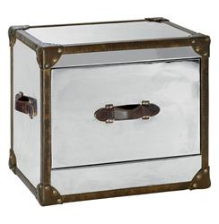 Laurence British Industrial Silver Brown Leather Side Table