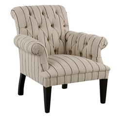 Colline French Country Striped Tufted Arm Chair