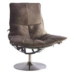 Humphrey British Industrial Loft Leather Steel Swivel Accent Chair