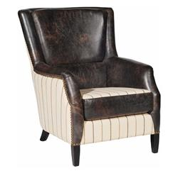 Boone Rustic Lodge Antique Leather Striped Stud Arm Chair