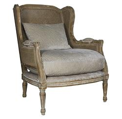 Montpelier French Country Buff Wing Back Salon Arm Chair