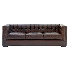 Owen Rustic Lodge Vintage Brown Leather Arm Sofa