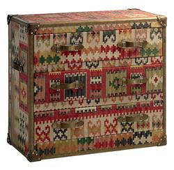 Taos Global Bazaar Kilim Tapestry Three Drawer Chest Dresser