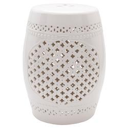 Maggie Modern Classic White Glazed Ceramic Garden Stool