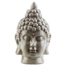 Radjah Global Bazaar Grey Ceramic Buddha Head Sculpture