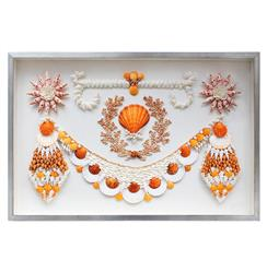Ibiza Coastal Beach Orange White Shell Grotto Wall Decor - by Karen Robertson