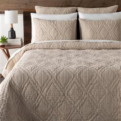 Samira Modern Classic Beige Cotton Diamond Patterned Quilt Coverlet Set - Queen