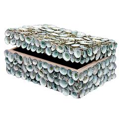 Oyster Bay Coastal Blue Limpet Shell Decorative Box - by Karen Robertson | KRO-BLU-LIM-3X8-B