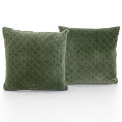 Gwen Modern Classic Green Cotton Velvet Decorative Pillow - Set of 2