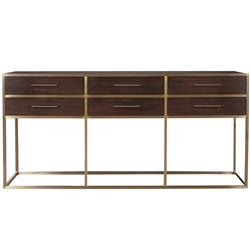 Gianluca Mid Century Modern Brown Wood Brushed Brass Console Table