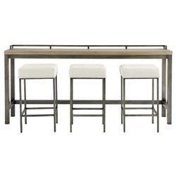 Addison Industrial Loft Grey Wood Dining Bar Table Set