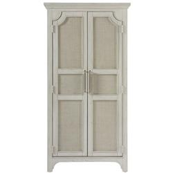 Hanna French Country White Raffia Wood Armoire