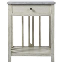Hanna Coastal Beach Grey Stone Top White Wood Nightstand