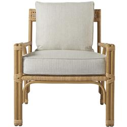 Jairo Coastal Beach White Cushion Brown Rattan Occasional Arm Chair