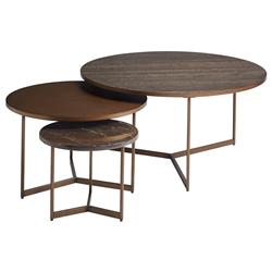 Jayce Modern Classic Wood Metal Stone Nesting Round Coffee Tables - Set of 3