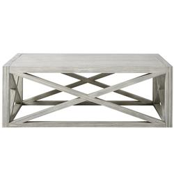 Ada Coastal Beach Grey Wood Rectangular Coffee Table