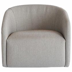 Brinley Modern Grey Upholstered Faux Beige Leather Round Swivel Occasional Chair
