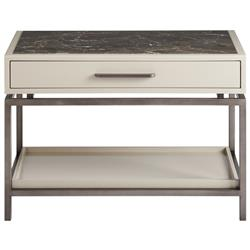 Seth Modern Classic Brown Stone Top White Wood Metal Nightstand