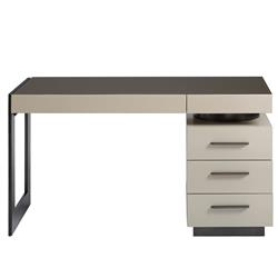 Graham Modern Classic Bronze Glass Top White Metal Writing Desk
