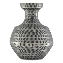 Aurora Global Bazaar Grey Patterned Metal Vase - Small