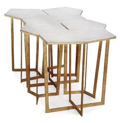 Eastwood Hollywood Regency Travertine Gold Leaf Puzzle Coffee Table Set of 6 | REG-5-564-6P