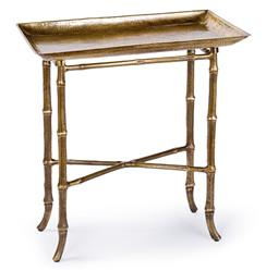 Kashgar Global Bazaar Antique Brass Bamboo Tray End Table | REG-44-6765-BRASS