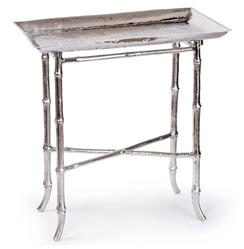 Kashgar Global Bazaar Nickel Bamboo Tray End Table | REG-44-6765-NI