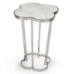 Regina Andrew Clover Hollywood Marble Top Silver Metal Clover End Table