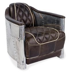 Aarnio Industrial Loft Aluminum Espresso Black Leather Arm Chair