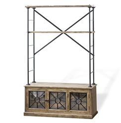 Brower Rustic Lodge Wood Metal Glass Rack Cabinet