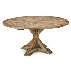Ducasse French Style Mango Wood Parquet Round Dining Table