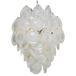 Ventura Coastal Beach Metal White Opal Glass Chandelier