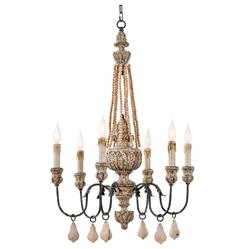 Ronsard French Country Wood Bead Parisian Chandelier