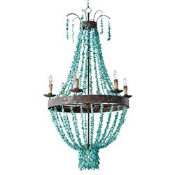 Regina Andrew Beaded Coastal Beach Beaded Turquoise Metal Chandelier
