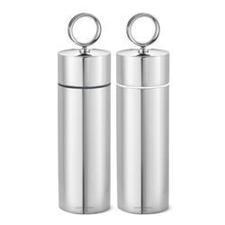 Georg Jensen Bernadotte Modern Classic Silver Stainless Steel Salt and Pepper Grinder Set