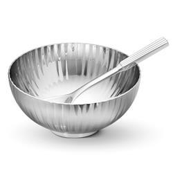 Georg Jensen Bernadotte Modern Classic Silver Stainless Steel Salt Bowl and Spoon